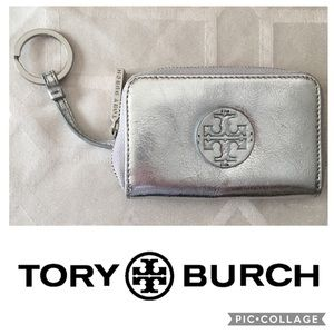 Tory Burch Silver Metallic Card and Key Case